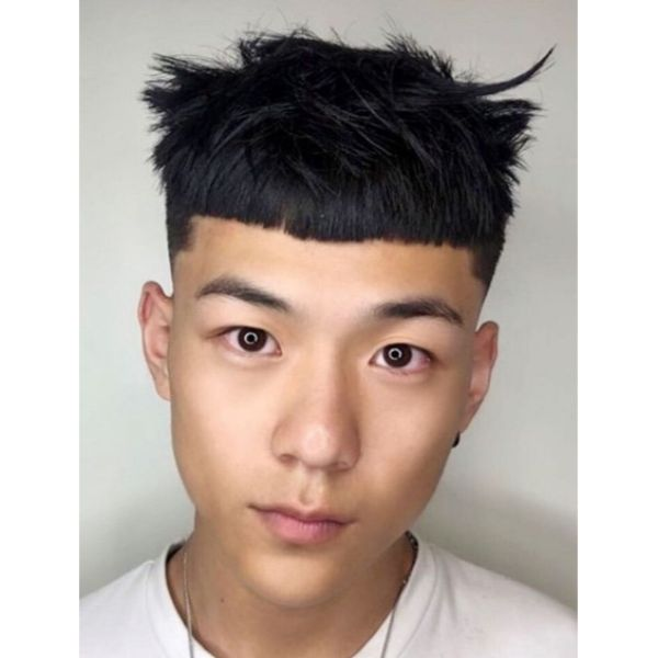 Bowl-Cut Hairstyle with Piecey Top