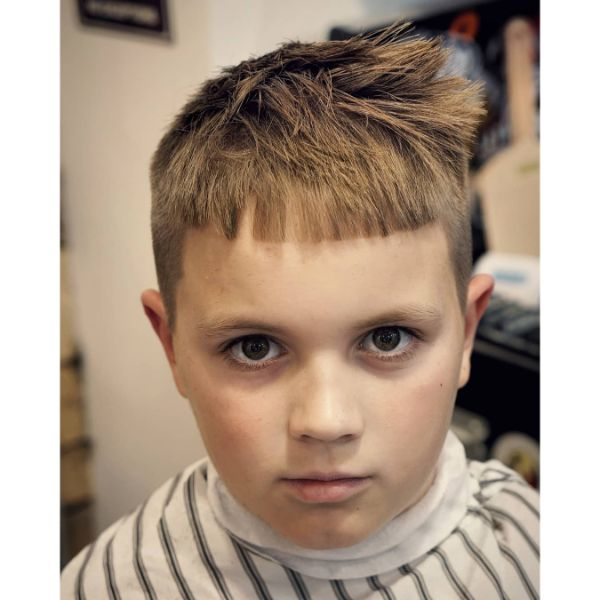 Boys Crop Haircut  with Messy Top for Blonde Hair