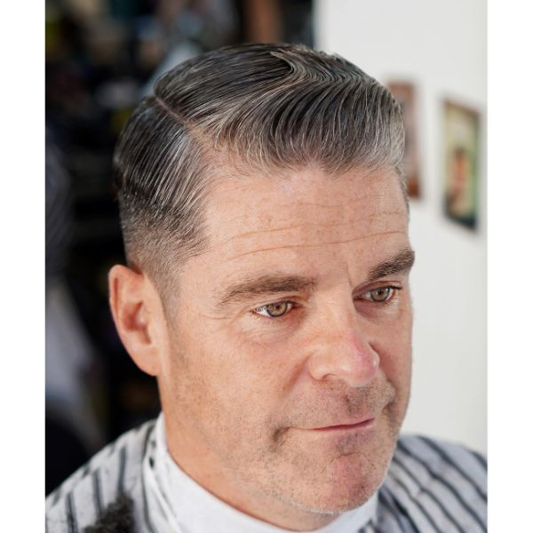 Classic Taper Haircut for Older Men with Side Part
