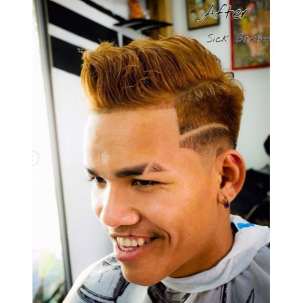 Copper Colored High Fade with Faux Mohawk and Side Pattern