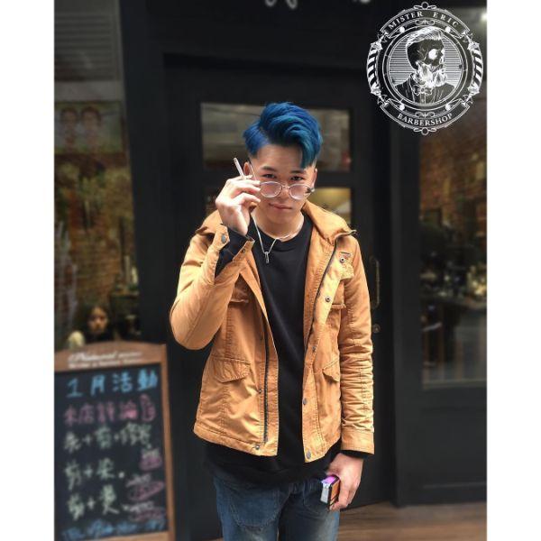 Deep Blue Layered Haircut for Korean Men