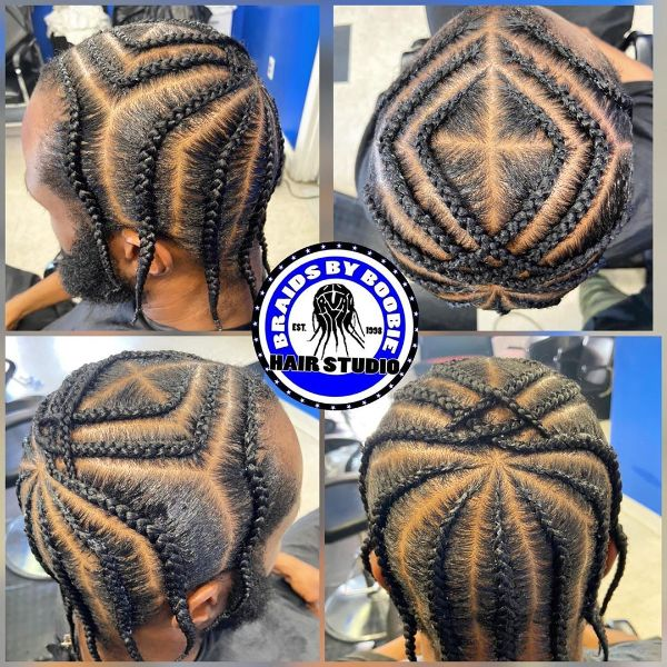 Diamond-Shaped Pattern for Cornrows