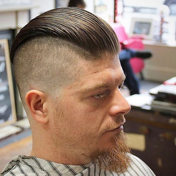 Disconnected Slick back Hairstyle for Older Men