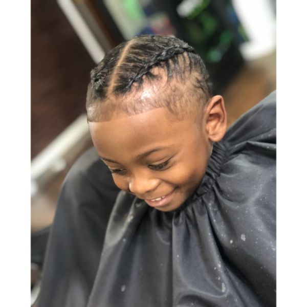 Double Cornrows for Skin Faded Boys Haircut
