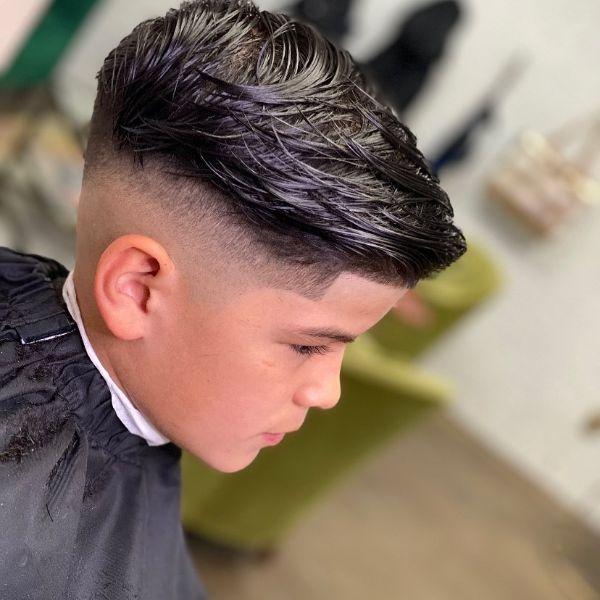 Fade Boys Haircut with High Sleek Top