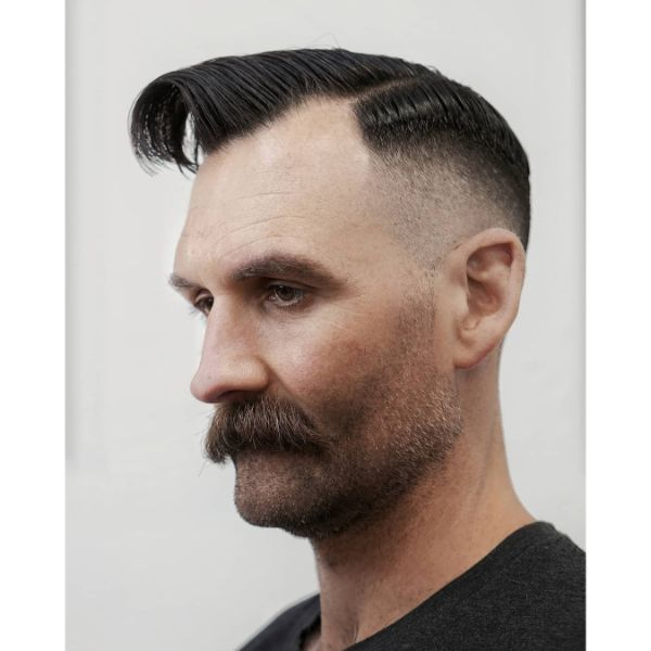 Faded Executive Haircut with Curved Top and Moustache