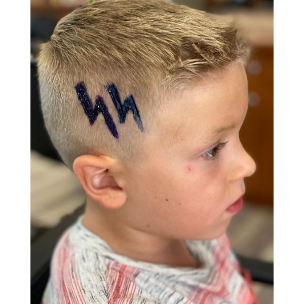 Flat Top Haircut for Boys with Harry Potter Pattern