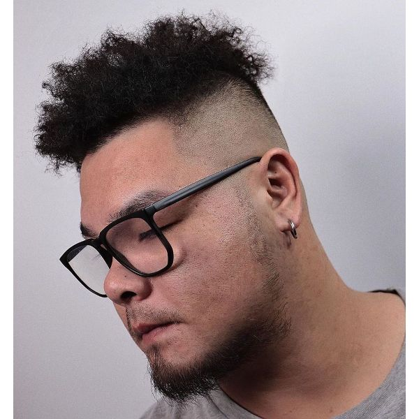Flat Top Haircut with Curly Textured Top