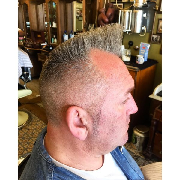 Flat Top Psycho Quiff Hairstyle mix for Older Men