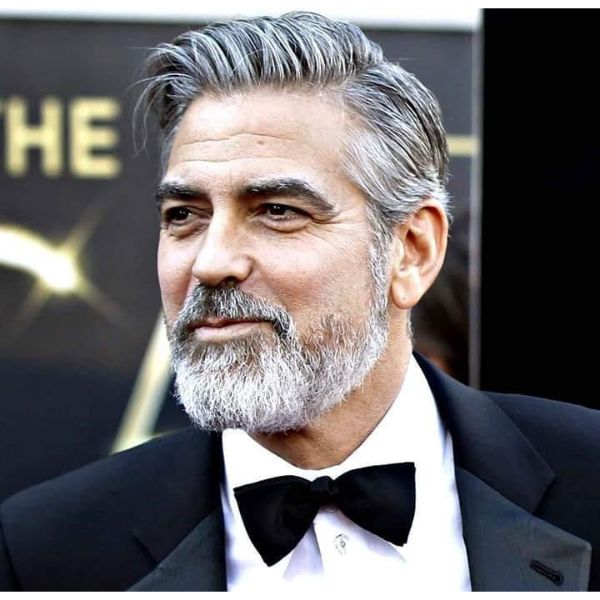 George Clooney's Swept Back Executive Haircut