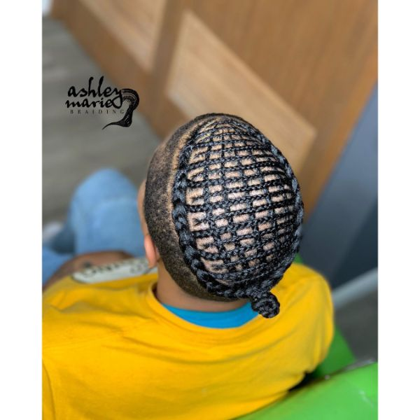 Gingham Patterned Braids for Undercut Fade