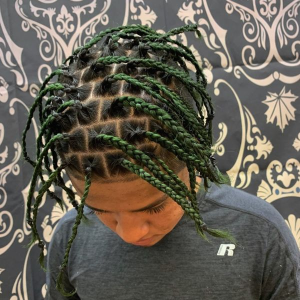 Green Colored Long Box Braids for Men