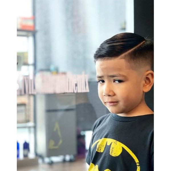 High Fade Boys Haircut with Side Part