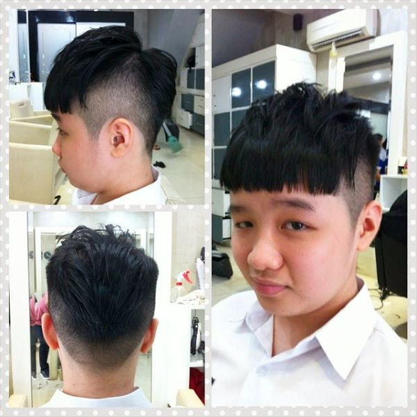 High Fade Cut with Straight Bangs