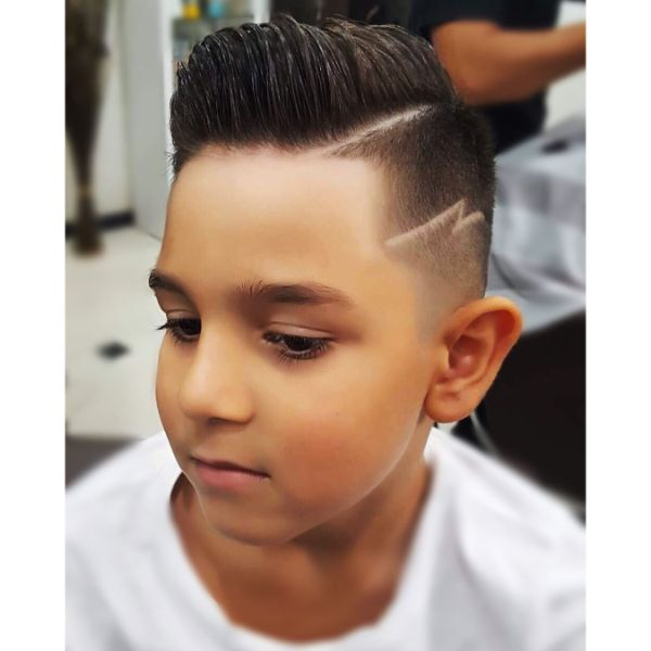 High Fade with Side Part and Razor Pattern