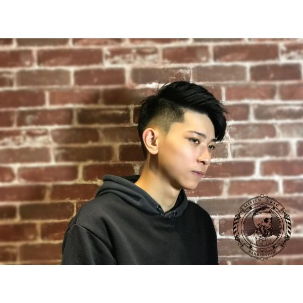 High Fade with Side Part for Korean Men Haircut