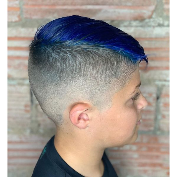 High and Tight Blue Colored Haircut with Side Swept Top