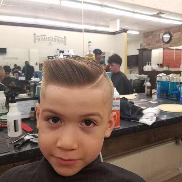 High and Tight Boys Haircut with Side Swept Top