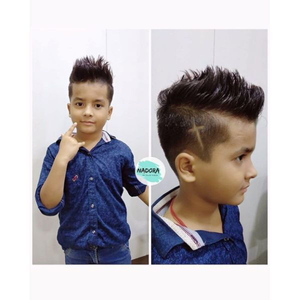 High and Tight Boys Haircut with Spiky Top and Side Pattern