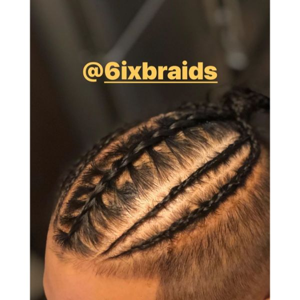 High and Tight Haircut wit Feed-in Braids