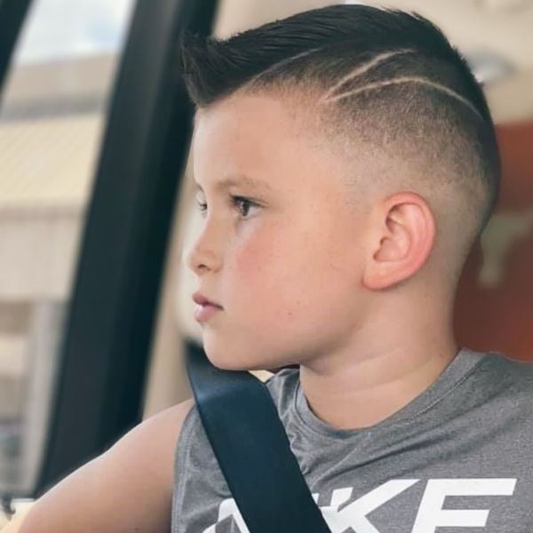 High and Tight Haircut with Fake Mohawk and Side Razor Pattern