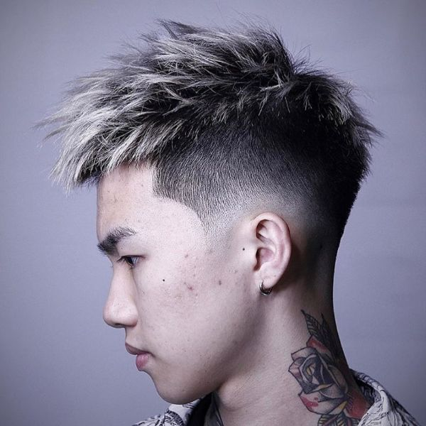High and Tight Haircut with Highlighted Spiky Top