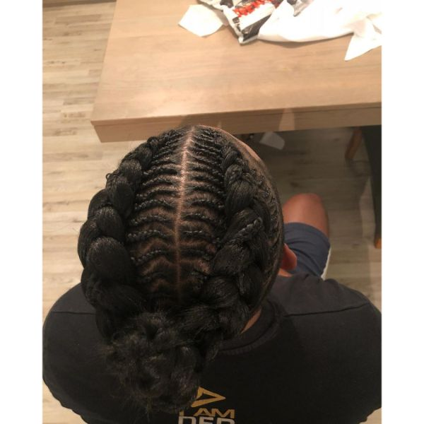Horizontal Cornrows with Feed-in Braids