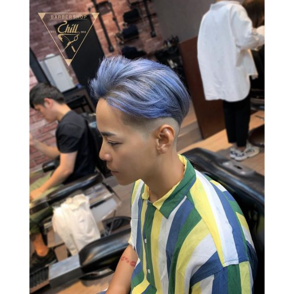 Icy Blue Layered Top with White Walls Haircut