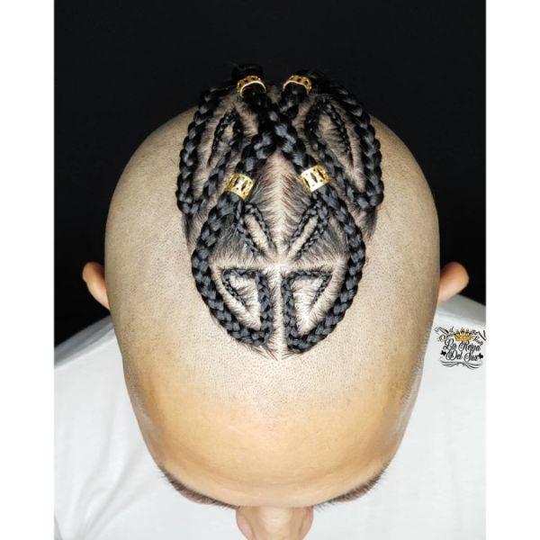 Intricate Box Braids Design for Bald Haircut