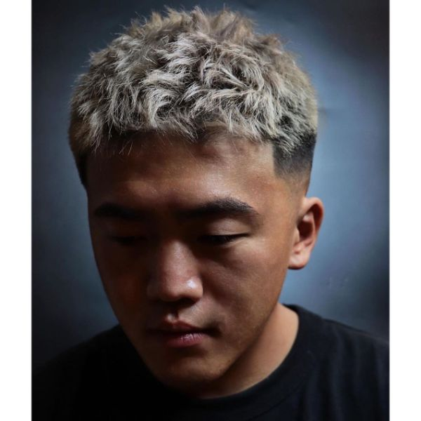 Low Fade with Messy Blonde Top