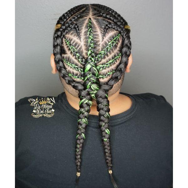 Marijuana Themed Pattern for Cornrows