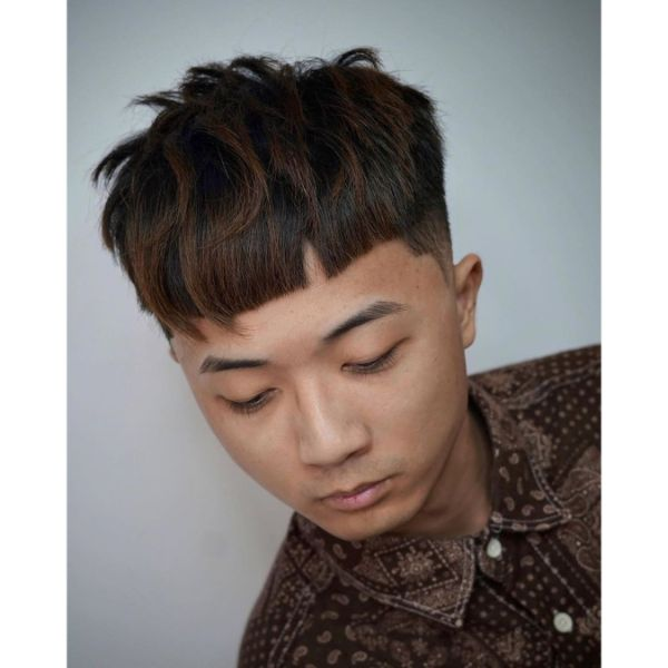 Modern Bowl Cut for Highlighted Brown Hair with Longer Pieces