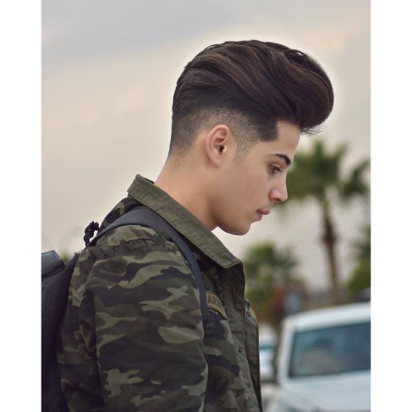 Modern Pompadour with Skin Fade and Wavy Top