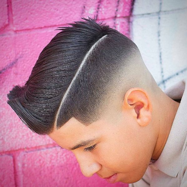 Modern Pompadour with Surgical Side Line