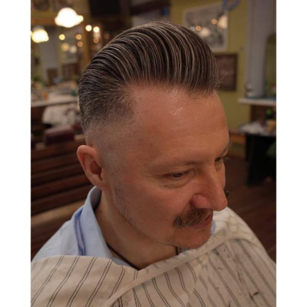 Perfect Swept Back Pompadour Hairstyle for Older Men