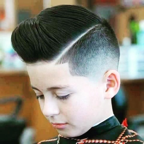 Pompadour Haircut with Surgical Side Line