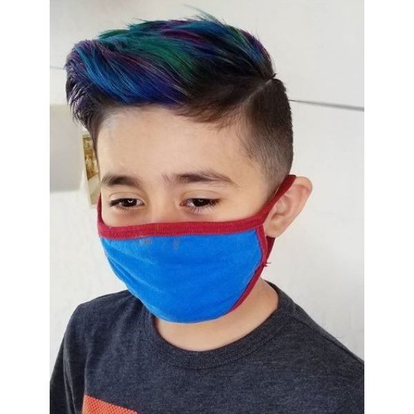 Pompadour Hairstyle with Blue Highligts and Side Part
