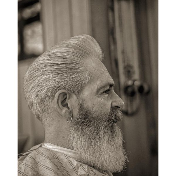 Pompadour Shape Up Hairstyle for Older Men