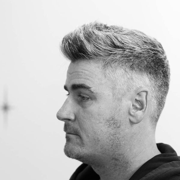 Pompadour-Style Fade Haircut for Older Men