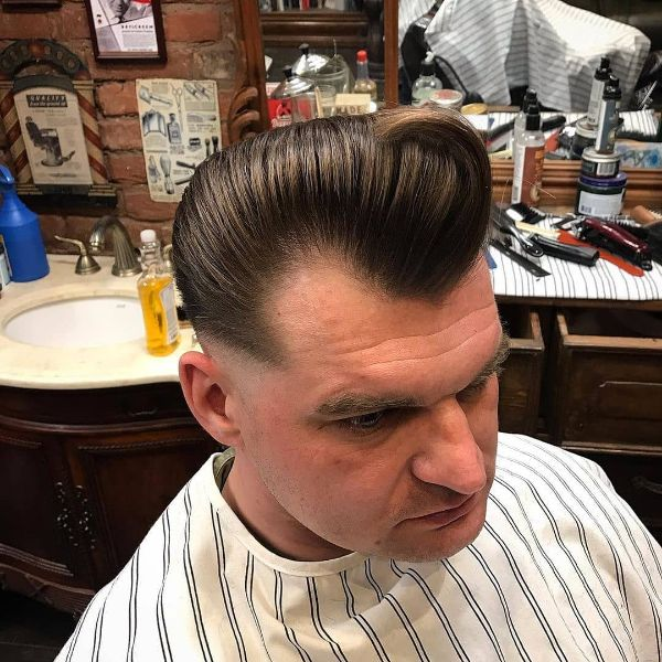 Pompadour and Low Fade Hairstyle for Older Men