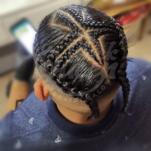 Quadrant Sectioned Box Braids witQuadrant Sectioned Box Braids with Skin Fade Haircuth Skin Fade Haircut
