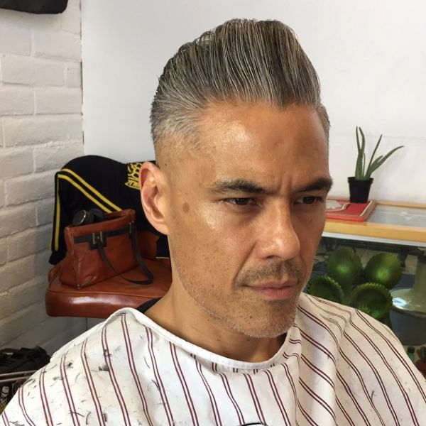 Razor Fade Pompadour Hairstyle for Older Men