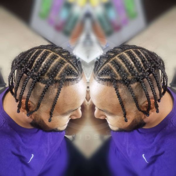 Rectangular Box Braids with Side Cornrows for Men