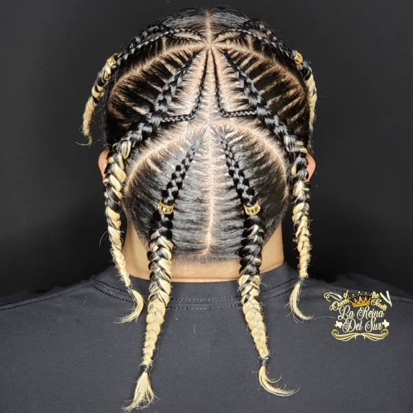 Sectioned Cornrows with Blonde Ombre