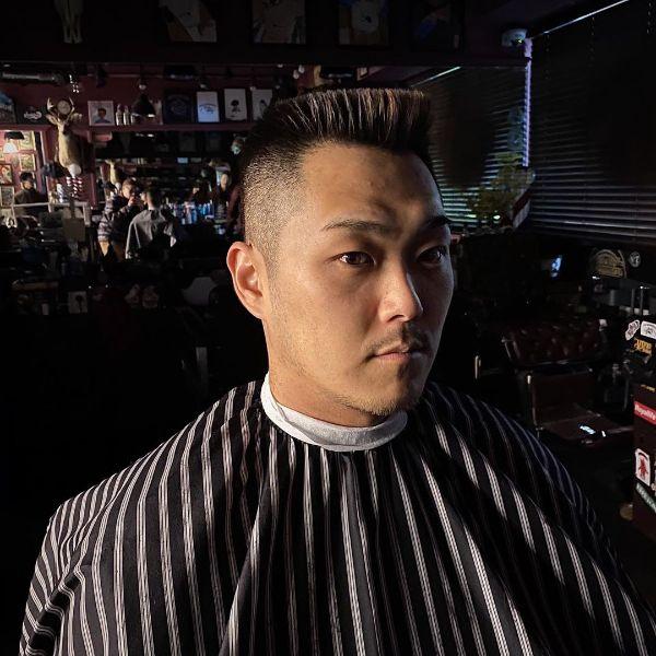 Sharp Fade With Spiky Top for Korean Men