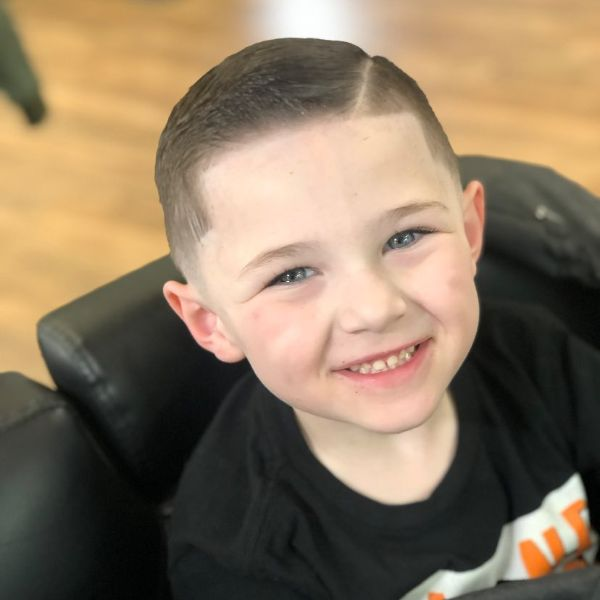Sharp Fade with Side Part for Boys