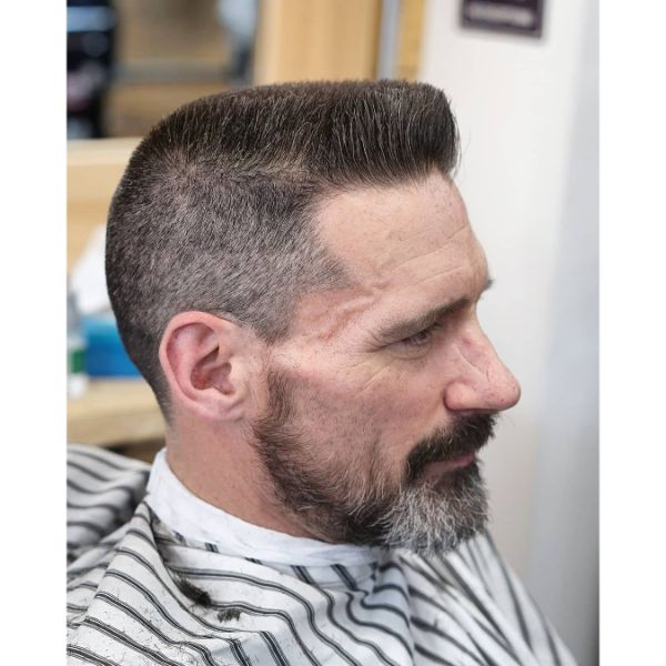 Sharp Flattop Hairstyle for Grey Hair