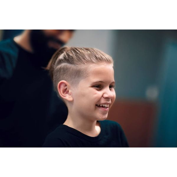 Skin Fade Boys Haircut with Top Knot