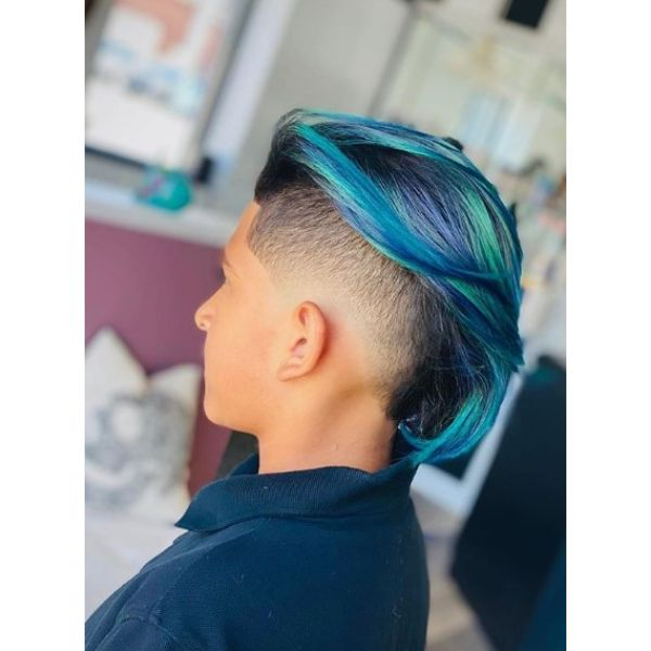 Skin Fade Boys Haircut with Turquoise Mohawk