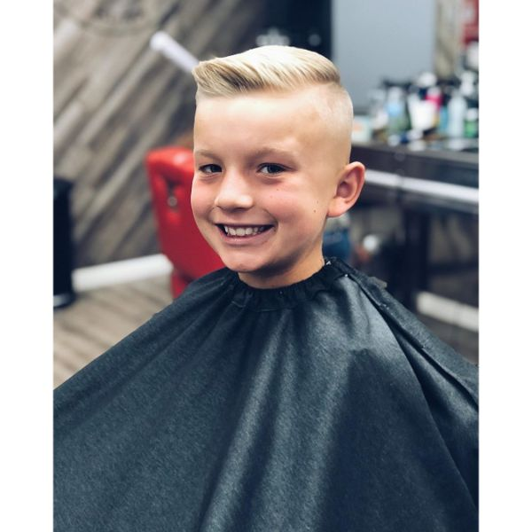 Skin Fade with Long Side Swept Top for Blonde Hair